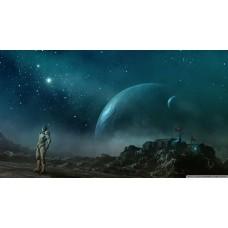 Távolba révedő űrhajós futurisztikus asztrológiai témájú kép