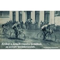 Kerékpárosok a vízben motivációs vászonkép az erőről