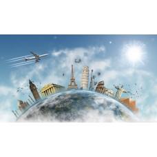 Föld körüli utazás illusztrációs vászonkép